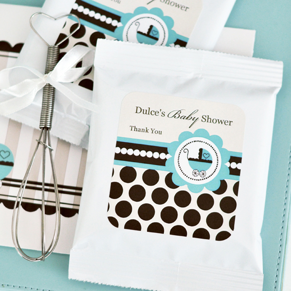 Personalized Hot Cocoa + Optional Whisk - Blue Baby  wedding favors