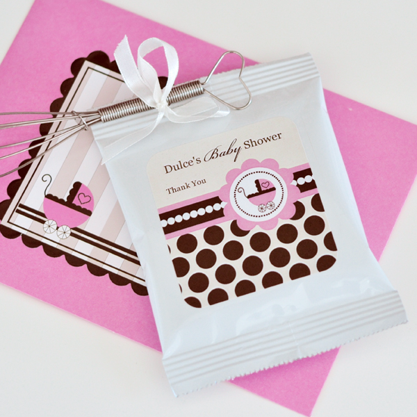 Personalized Hot Cocoa + Optional Whisk - Baby Pink  wedding favors