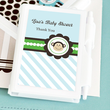 Blue Monkey Party Personalized Notebook Favors  wedding favors