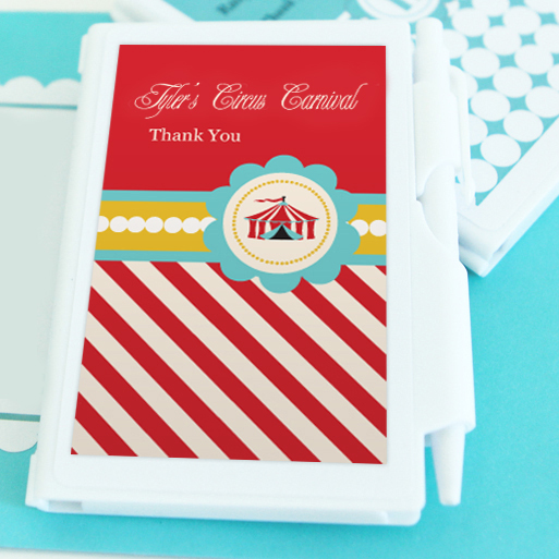 Circus Carnival Party Personalized Notebook Favors  wedding favors