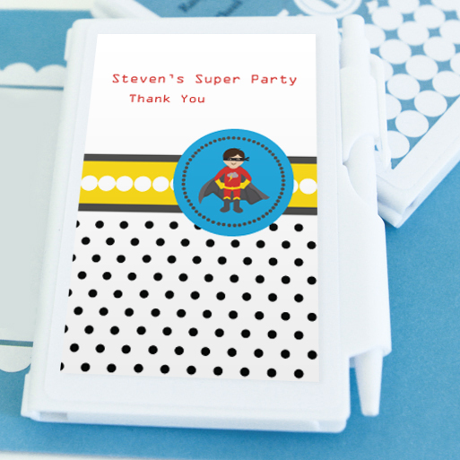 Super Hero Boy Birthday Personalized Notebook Favors  wedding favors