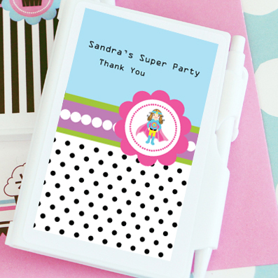 Super Hero Girl Birthday Personalized Notebook Favors  wedding favors
