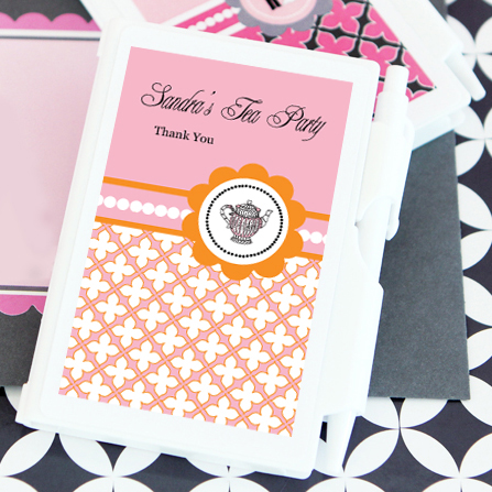 Tea Party Personalized Notebook Favors  wedding favors