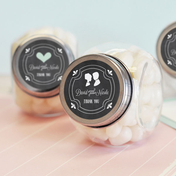 Chalkboard Wedding Personalized Candy Jars cheap favors