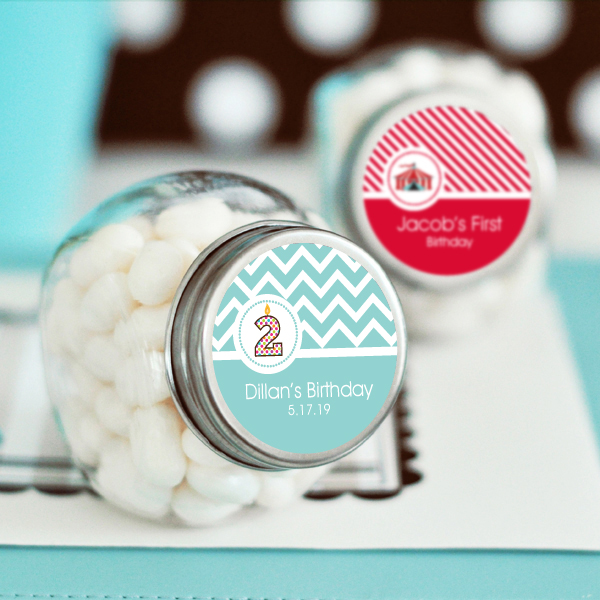 Personalized MOD Kid's Birthday Candy Jars wedding favors