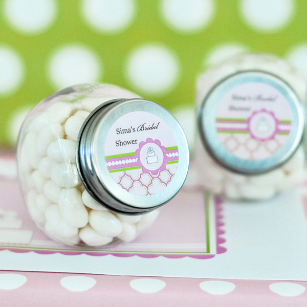 Personalized Candy Jars - Pink Cake  wedding favors
