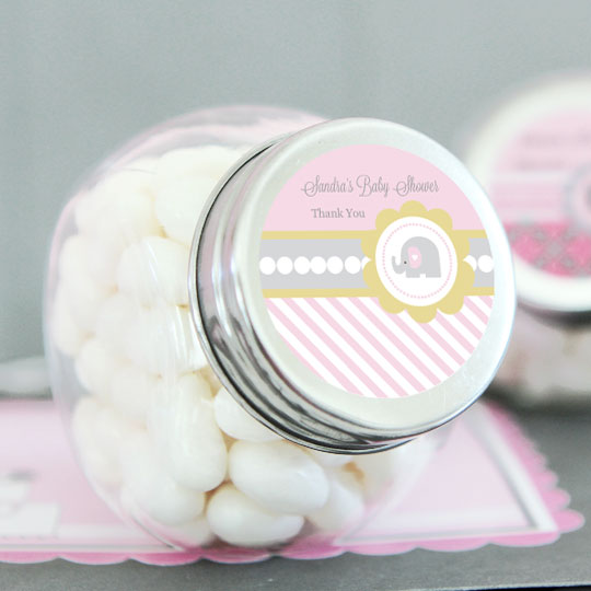 Pink Elephant Personalized Candy Jars wedding favors