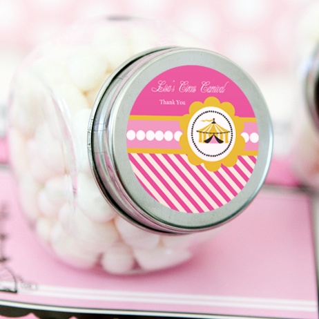 Pink Circus Party Personalized Candy Jars  wedding favors