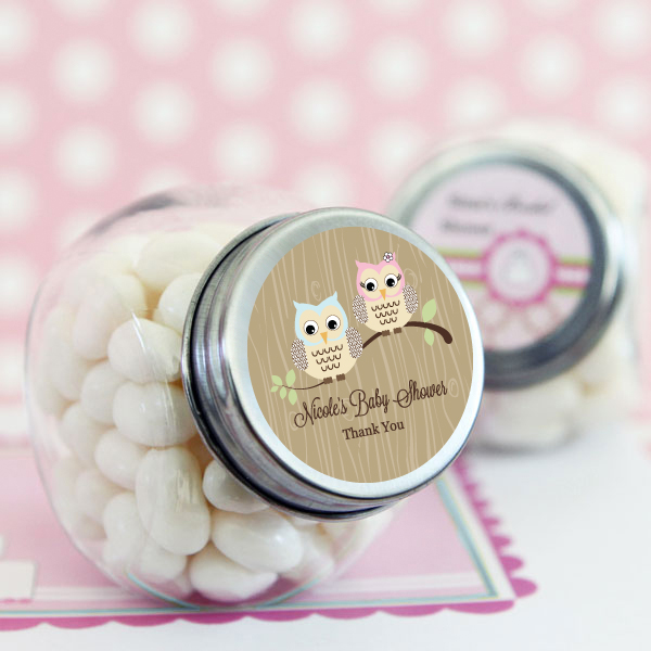 Woodland Owl Personalized Candy Jars wedding favors