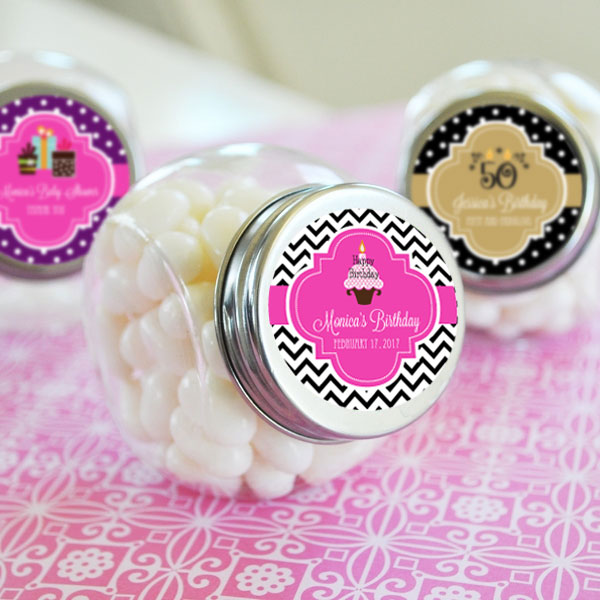 Personalized Birthday Candy Jars cheap favors