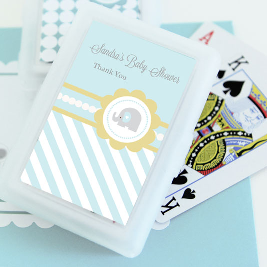 Blue Elephant Personalized Playing Cards wedding favors