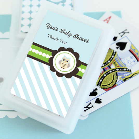 Blue Owl Personalized Playing Cards wedding favors