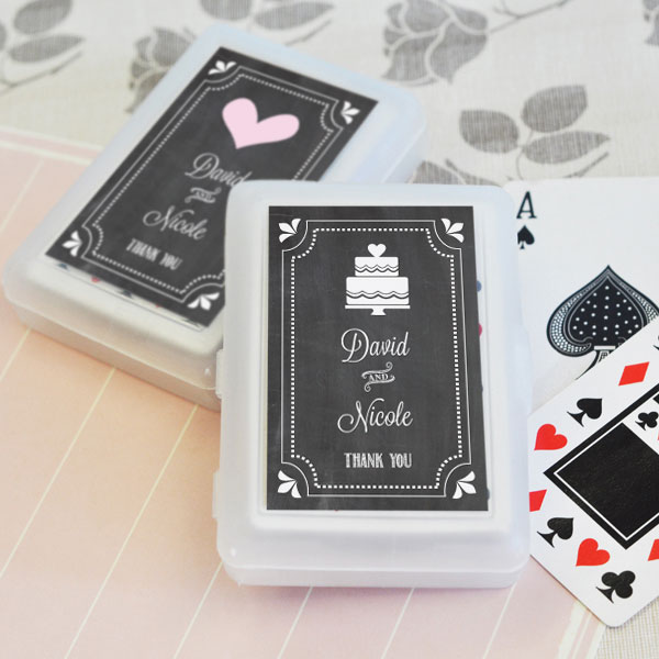 Chalkboard Wedding Personalized Playing Cards cheap favors