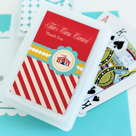Circus Carnival Party Personalized Playing Cards  wedding favors