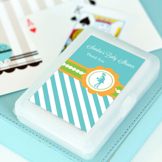 Going to Pop - Blue Personalized Playing Cards wedding favors