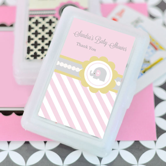 Pink Elephant Personalized Playing Cards wedding favors