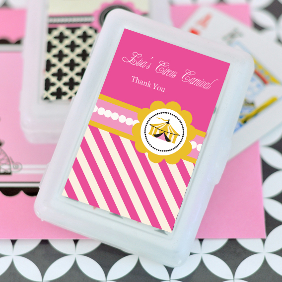 Pink Circus Party Personalized Playing Cards  wedding favors