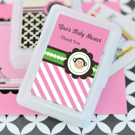 Pink Monkey Party Personalized Playing Cards  wedding favors