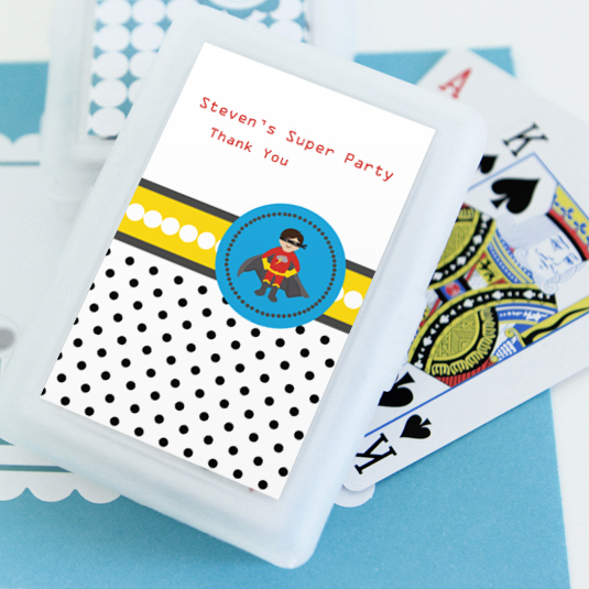 Super Hero Boy Birthday Personalized Playing Cards  wedding favors