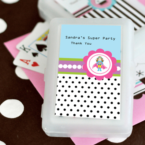Super Hero Girl Birthday Personalized Playing Cards Wedding Favors