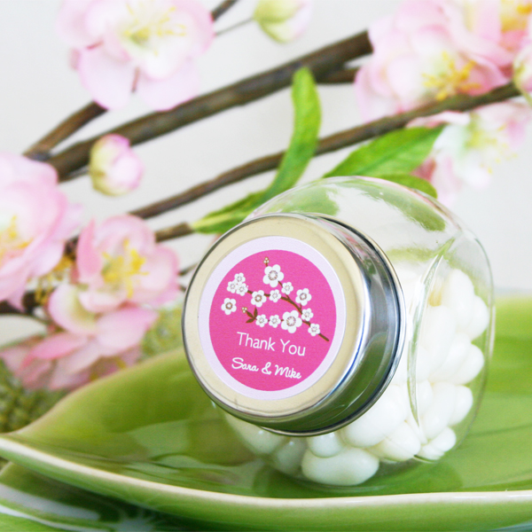Cherry Blossom Candy Jars wedding favors