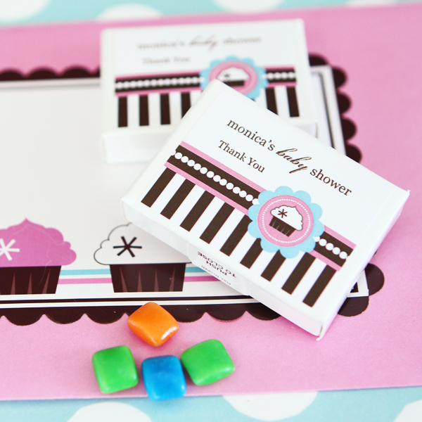 Personalized Gum Boxes - Cupcake Party wedding favors