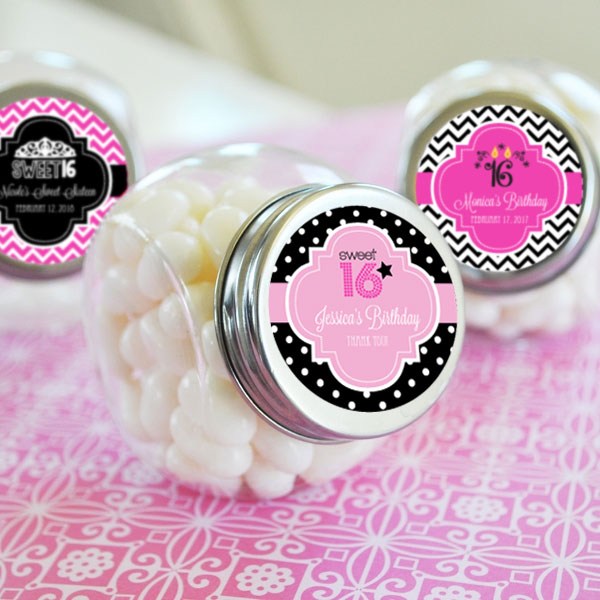 Personalized Sweet 16 or 15 Candy Jars cheap favors
