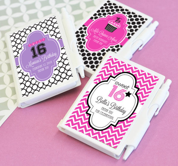 Personalized Sweet 16 or 15 Notebooks wedding favors