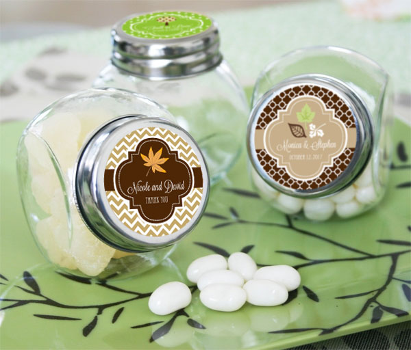 Personalized Fall Candy Jars wedding favors
