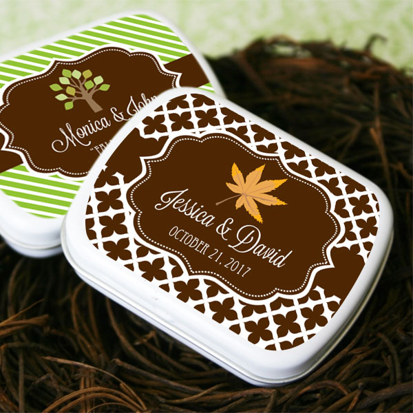 Personalized Fall Mint Tins wedding favors