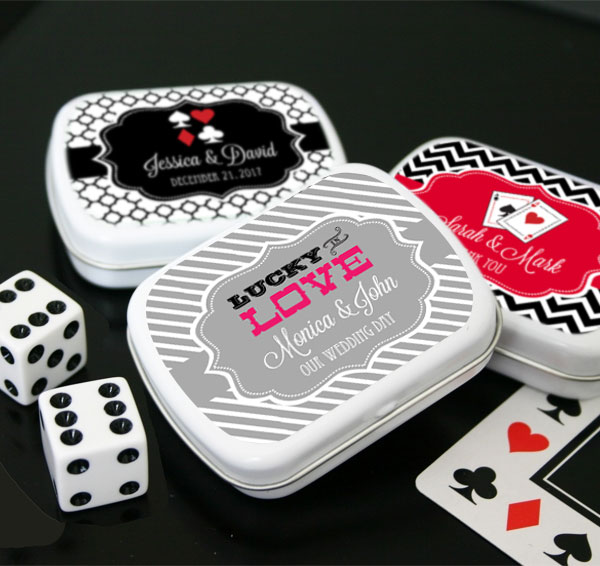 Personalized Vegas Mint Tins wedding favors