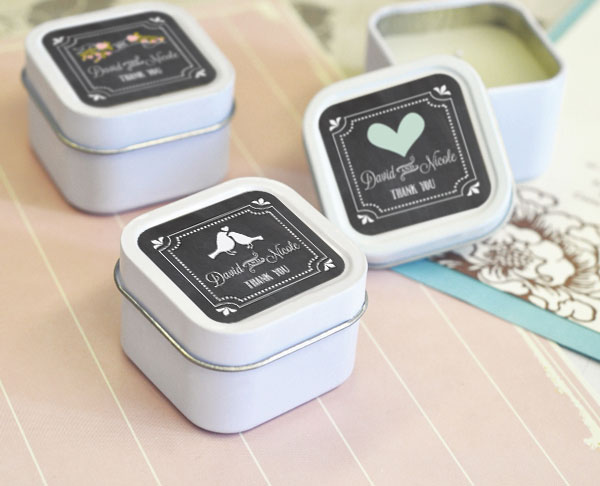 Chalkboard Wedding Personalized Square Candle Tins cheap favors