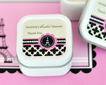 Personalized Square Candle Tins - Parisian Party  cheap favors