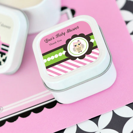 Pink Owl Personalized Square Candle Tins cheap favors