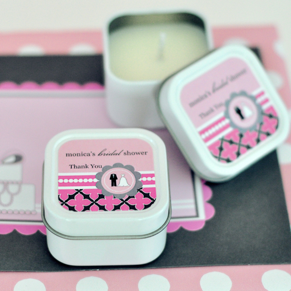 Personalized Square Candle Tins - Wedding Shower  wedding favors