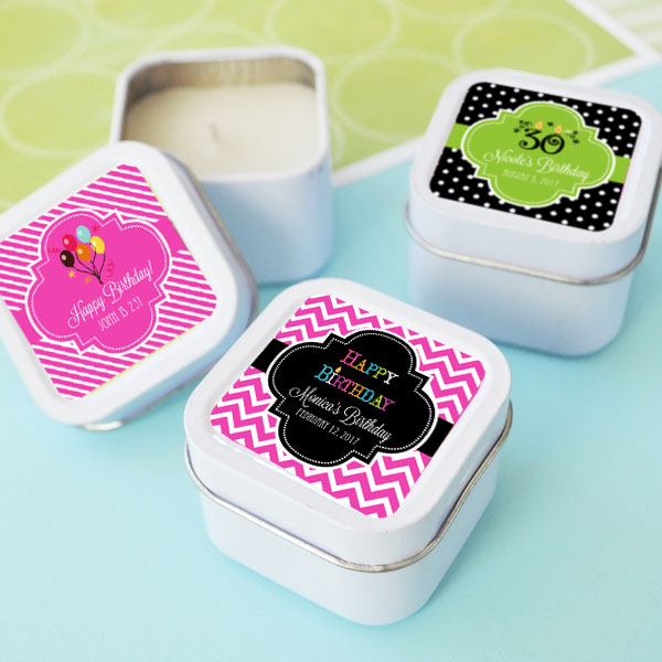 Personalized Birthday Square Candle Tins  cheap favors
