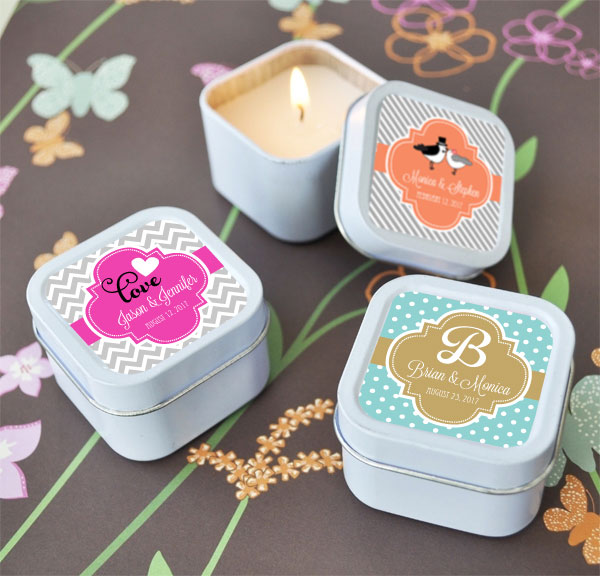 Personalized Square Theme Candle Tins cheap favors