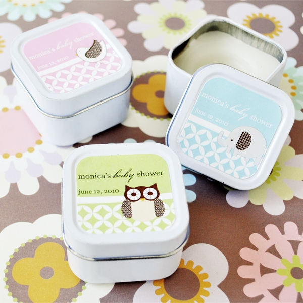Baby Animals Personalized Square Candle Tins  wedding favors