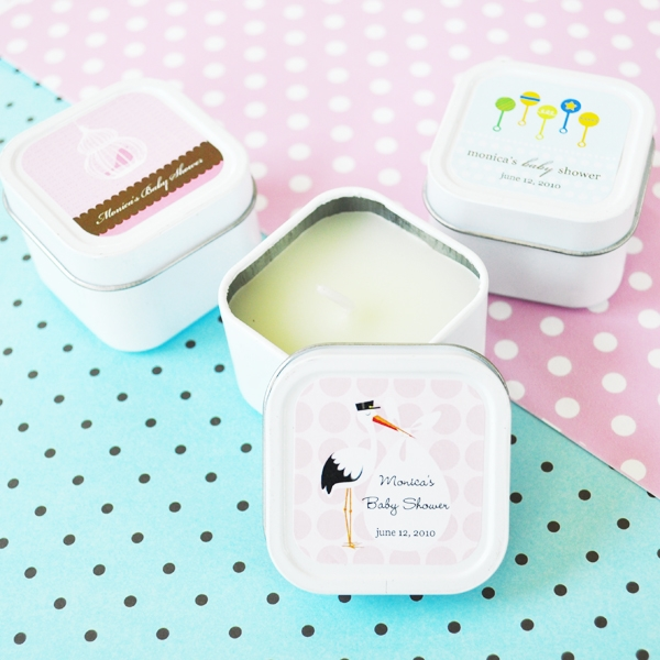 Elite Design Baby Shower Square Candle Tins wedding favors