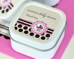 Personalized Square Candle Tins - Pink Baby cheap favors