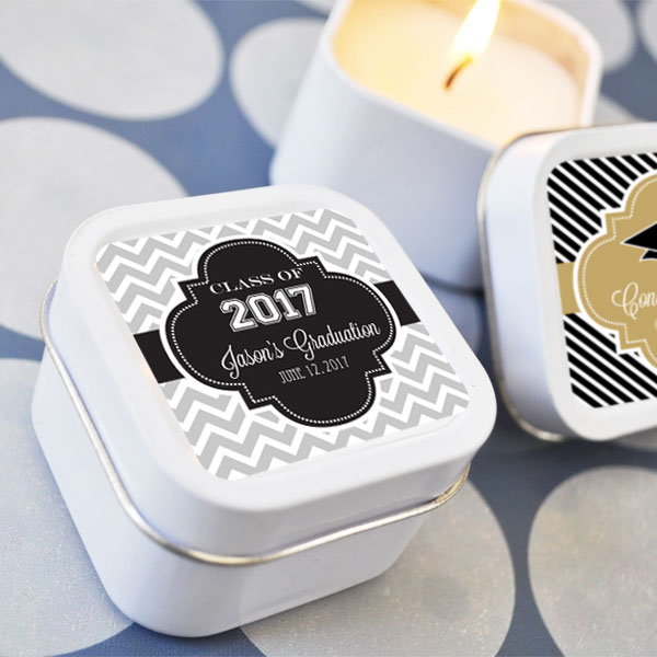 Personalized Graduation Square Candle Tins wedding favors
