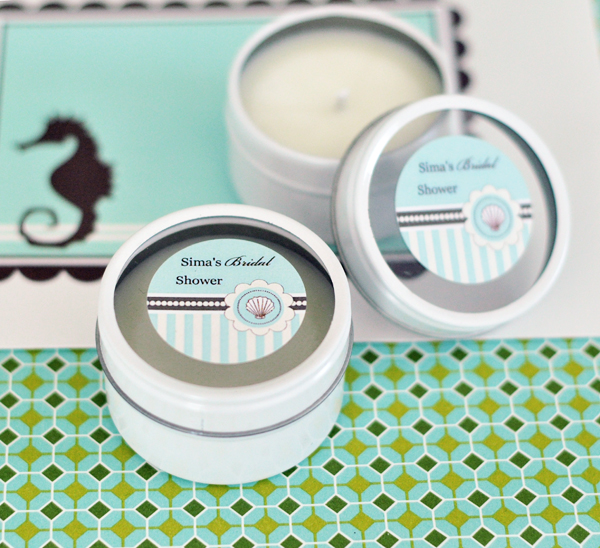 Personalized Round Candle Tins - Beach Party wedding favors