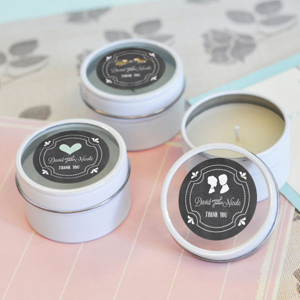 Chalkboard Wedding Personalized Round Candle Tins cheap favors