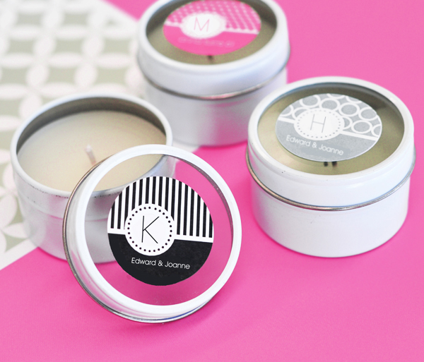 MOD Pattern Monogram Round Candle Tins cheap favors