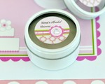 Personalized Round Candle Tins - Pink Cake  cheap favors