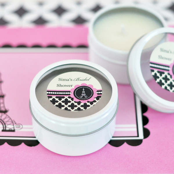 Personalized Round Candle Tins - Parisian Party  wedding favors