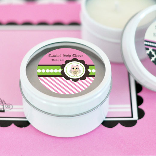 Pink Owl Personalized Round Candle Tins cheap favors