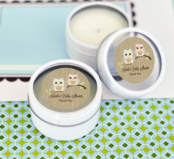 Woodland Owl Personalized Round Candle Tins cheap favors