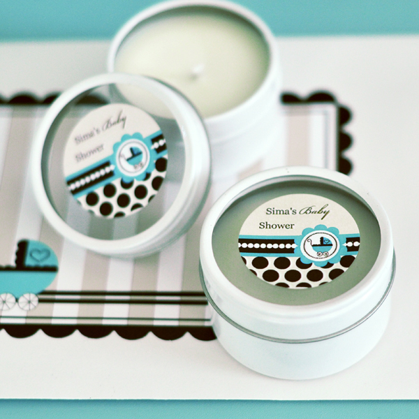 Personalized Round Candle Tins - Blue Baby  wedding favors