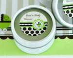 Personalized Round Candle Tins - Green Baby  cheap favors